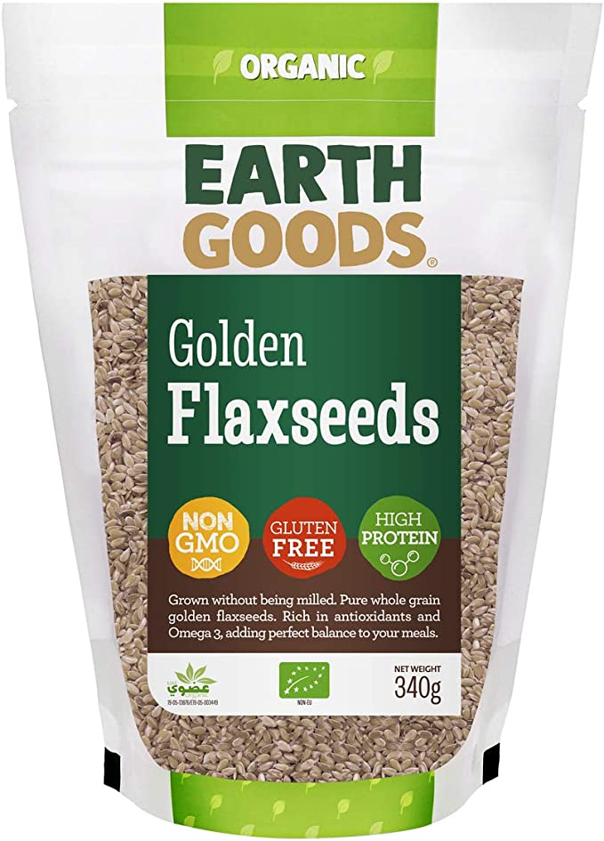 Earth Goods Organic Blond Flax Seeds, NON-GMO, Gluten-Free, High Protein 340g: Buy Online at Best Price in UAE - Amazon.ae