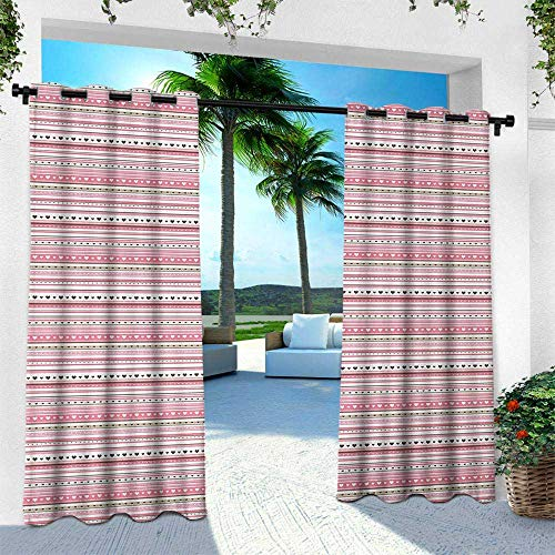 Romantic, Outdoor Patio Curtains Waterproof with Grommets,Horizontal Striped Pattern with Hearts and Dots Feminine Modern, W108 x L84 Inch, Pale Pink Dark Brown Tan
