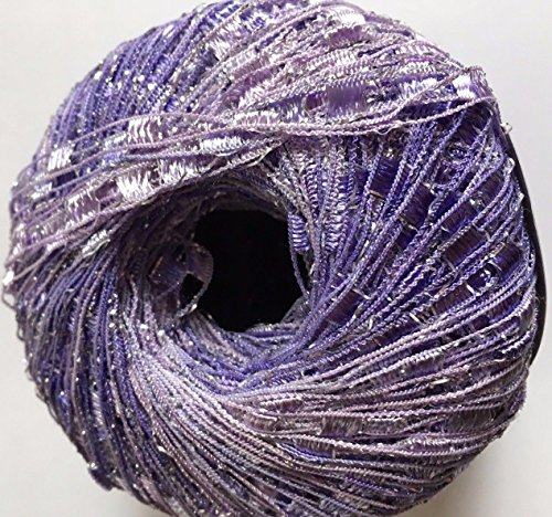 Lilac Shades Mini Ladder Glitz Yarn - Pale Purples with Silver Sparkle Ribbon Yarn - 50 - Pale Lilac