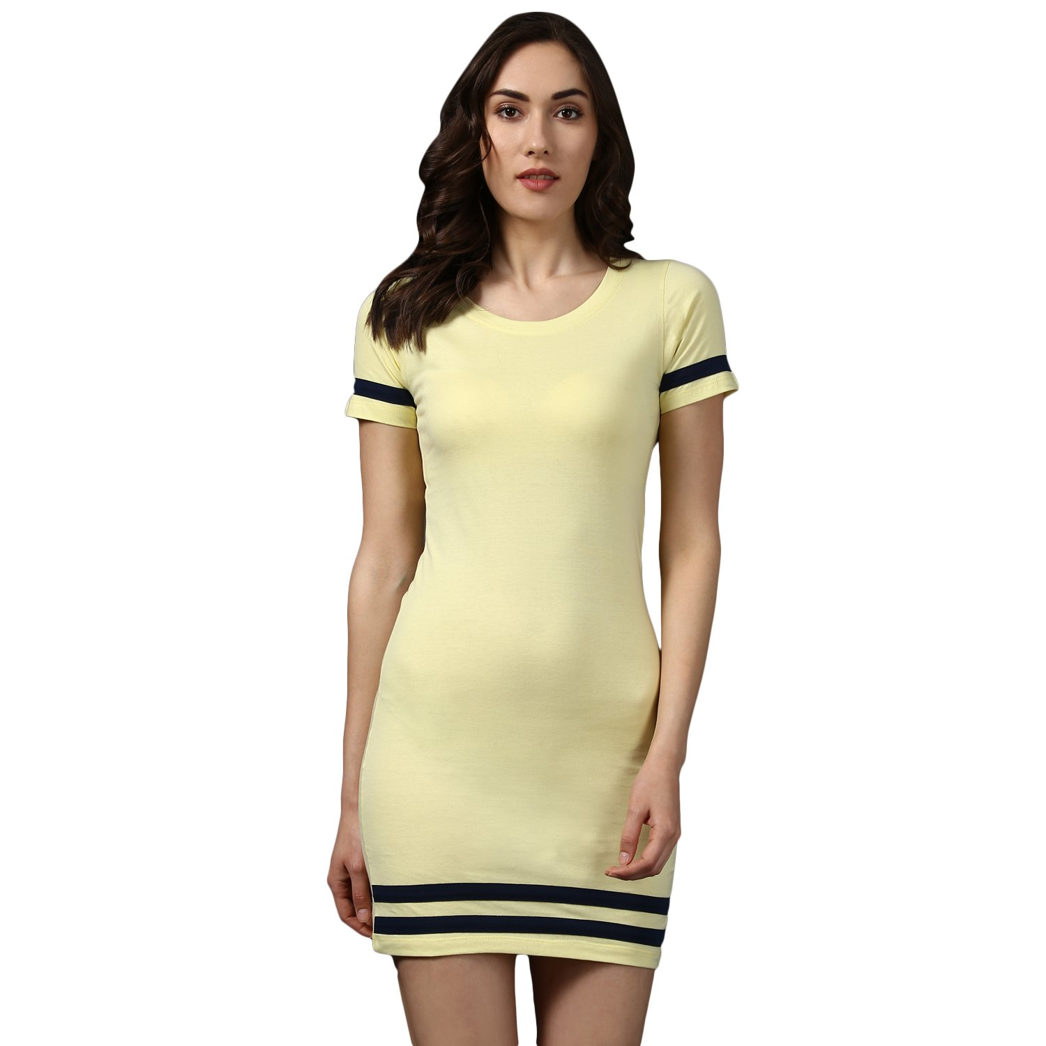 eb388066b869 MKH yellow Cotton Blend Solid Cap Sleeve Bodycon Mini Dress for Women   Amazon.in  Clothing   Accessories
