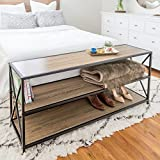 WE Furniture X-Frame Metal & Wood Console Table in Driftwood - 60''