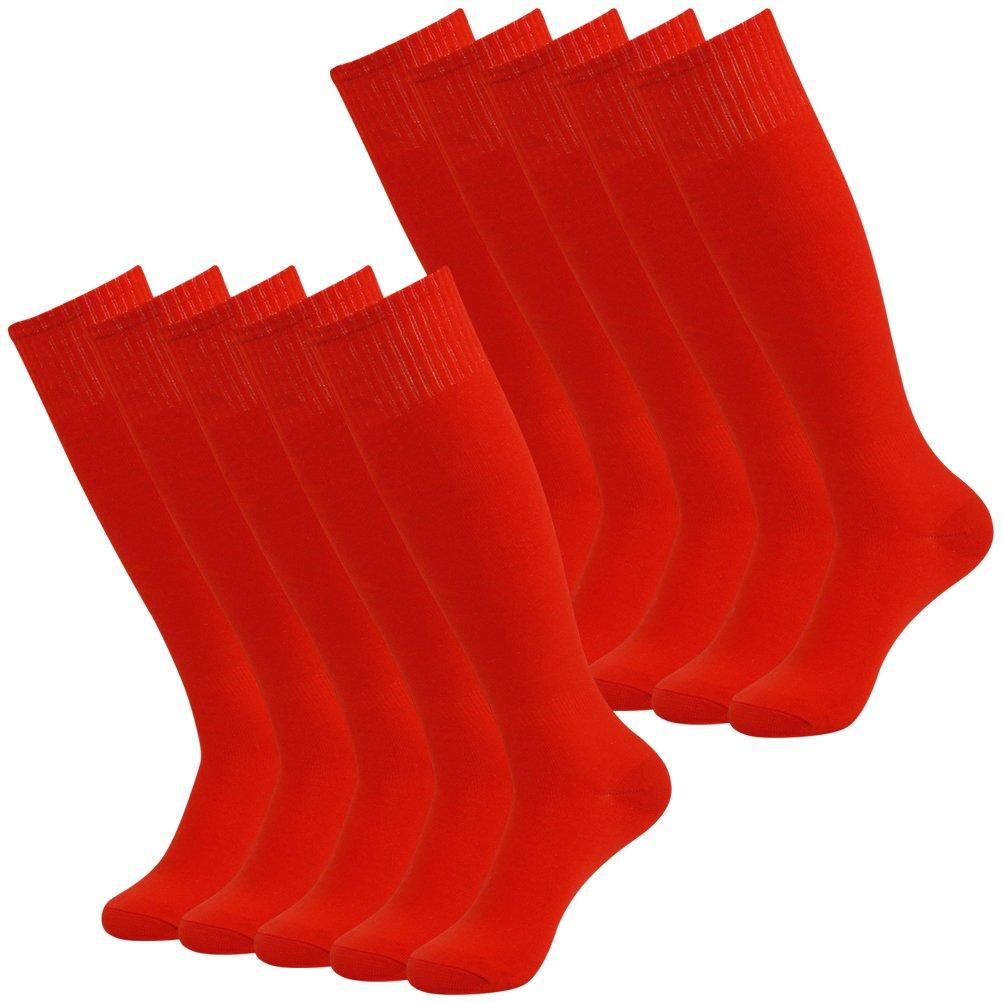 Long Tube Socks, Getspor Womens Mens Lightweight Compression Soccer Football Baseball softball Over-the-Calf Socks Red 12 Pairs