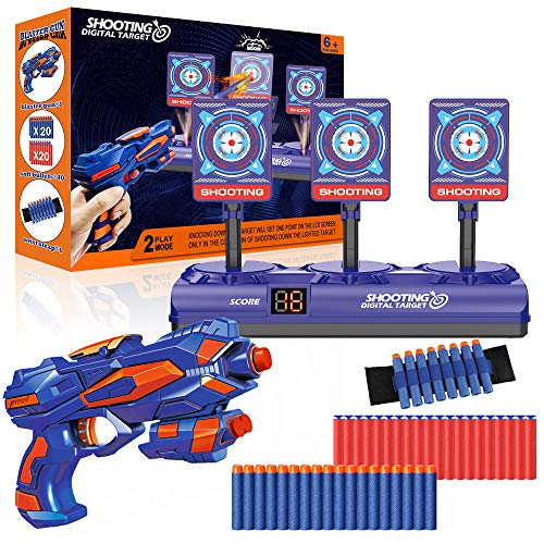 Digital Shooting Target with 1 Toy Gun, 40 Foam Bullet & 1 Dart Wrist Band, Electronic Nerf Targets with Auto Reset Score, Light &Sound, Kids Shoot Practice Game Gift for Boys Girls Age 5-10 Year Old