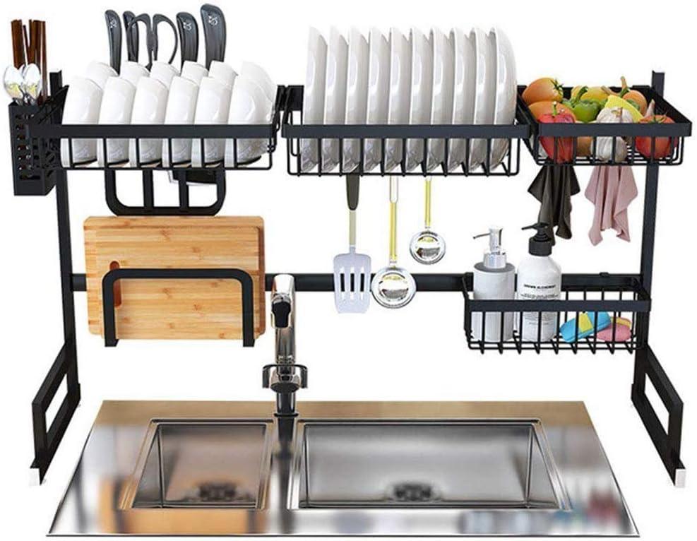 棚, 皿乾燥ラックオーバーシンクディスプレイスタンド水切りステンレスキッチン用品収納棚調理器具ホルダー(ブラック)85X32X52Cm