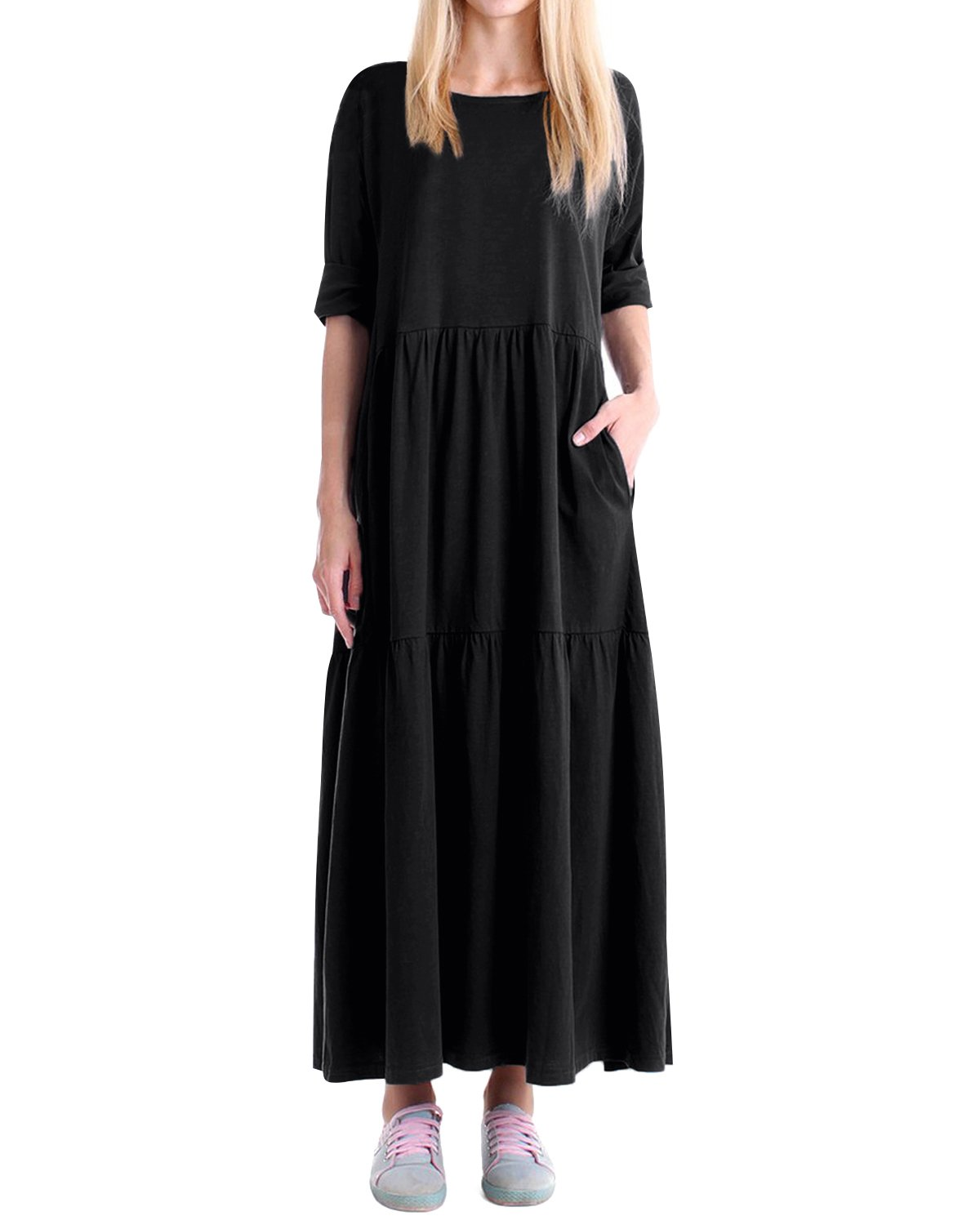 Kidsform Women Tiered Dress Round Neck 3/4 Sleeve Loose Long Maxi Dress With Pocket