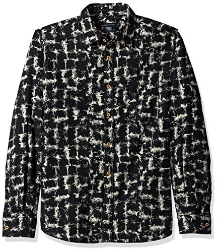 French Connection Chaos Check - Camisa de Franela para Hombre, Arcilla/Negro, Medium