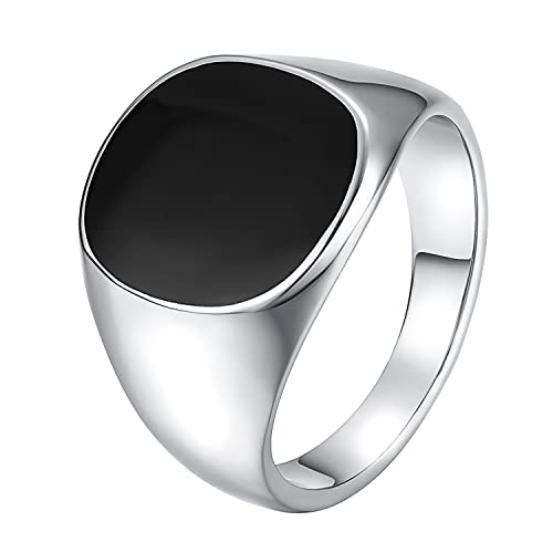 bcadddb2ce68 Yoursfs Black Stainless Steel Rings Gothic Mens Cool Motorcycle Black Onyx  Enamel Signet Rings for Men Wedding Gift: Amazon.ca: Jewelry