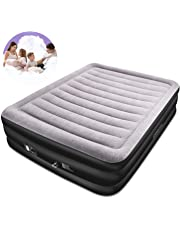 SPREEY Air Bed Built-in Electric Pump Air Bed, Queen Inflatable Mattress Bed Soft Flocking Layer Comfortable with Portable Storage Bag, Black Queen (80 x 60 x 20 in)