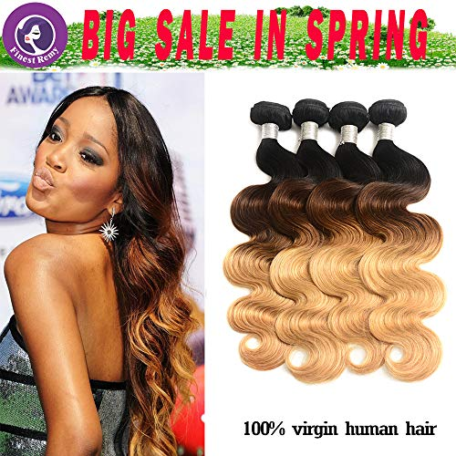 Brazilian Ombre Human Hair Extensions 1B 4 27 Three Tone 8A Blonde Weave Bundles Ombre Brazilian Hair Body Wave 3 Pcs Lot Mixed Lengths (18202224, ()