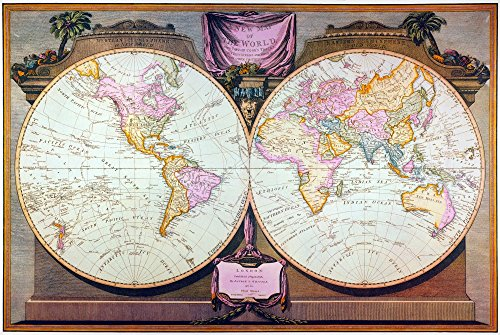 (Captain Cook Map 1808 Nenglish Double Hemisphere Map 1808 By Laurie And Whittle Recording All The Voyages Of Captain James Cook Poster Print by (24 x 36))