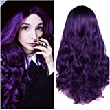 Quantum Love Wigs Ombre Wig Black to Violet Middle Part Long Curly Wig Heat Resistant Synthetic Daily Party Wig for…