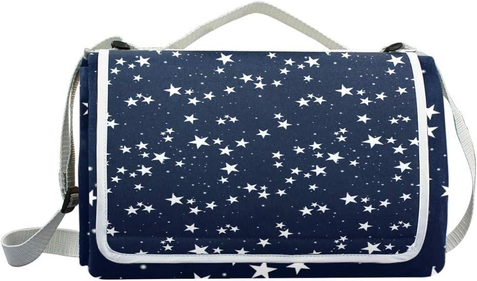 XINGAKA Coperta da Picnic Tappetino Campeggio,Alghe delle Stelle Marine sul Modello Senza Cuciture Bianco,Giardino Spiaggia Impermeabile Anti Sabbia 12