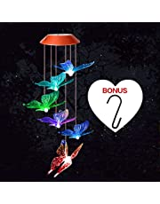 Wind Chimes Outdoor,Solar Light LED Color Changing Hanging Wind Light Waterproof Mobile Spiral Spinner Lamp Outdoor Decorative Light for Garden Yard Room(Butterfly)