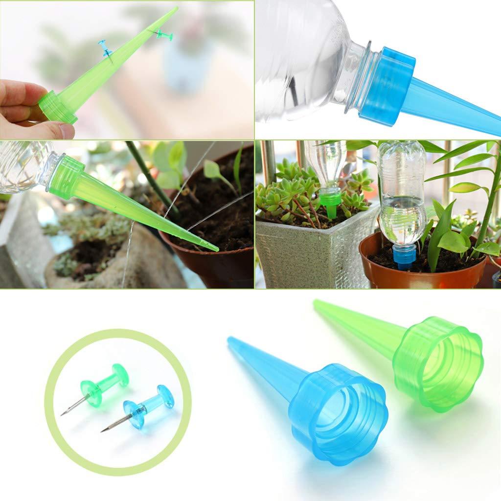 Blue and Green JOYKK 4x Automatic Watering Irrigation Spike Garden Plant Flower Drip Sprinkler Water