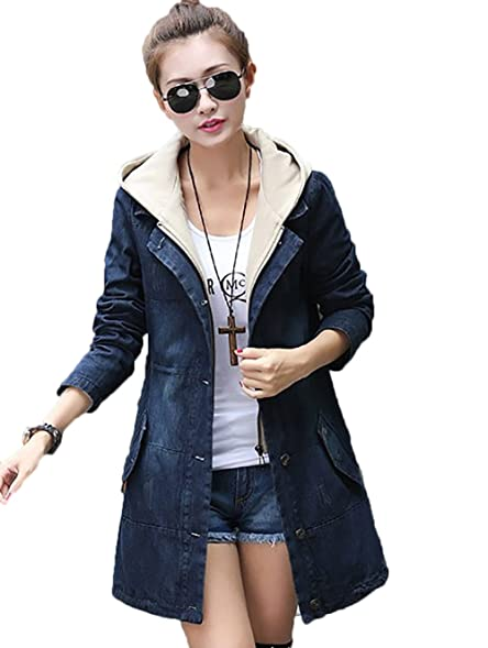 Women Long Sleeve Plus Size Long Denim Jackets Maxi Denim Coat For ...