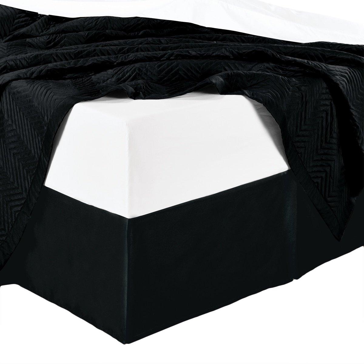 wrinkle-freeソリッドブラックツインサイズプリーツ仕立て14インチdrop- 95 gsm、100 %マイクロファイバーベッドスカート。 B006WSVXC8