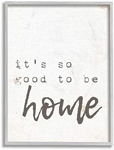 The Stupell Home D cor Collection Its So Good to Be Home Typewriter Typography Gray Framed Wall Art, 16×20, Multi-Color