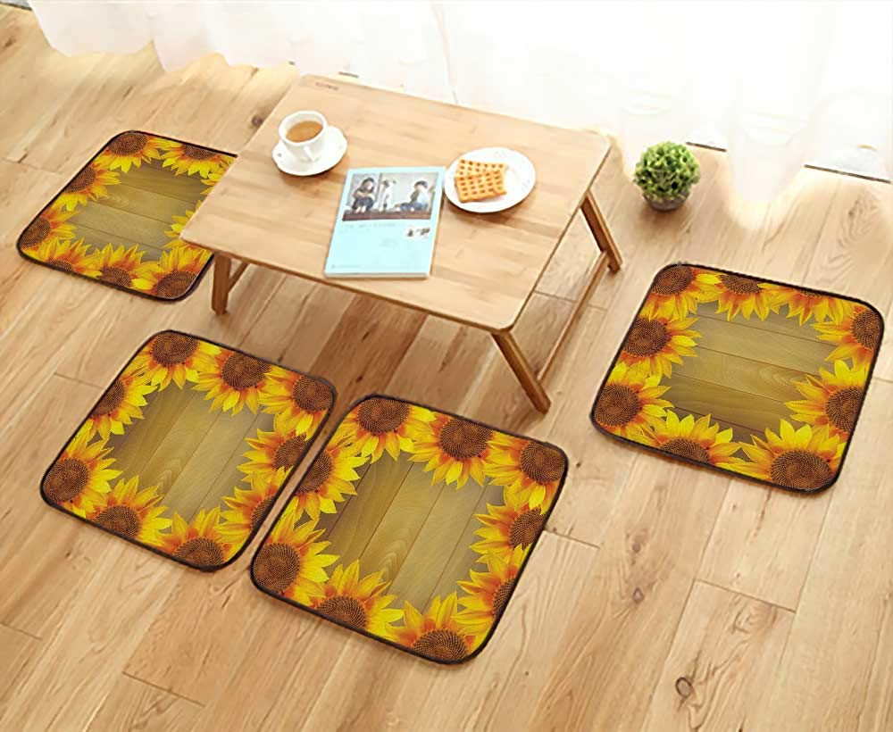 Printsonne Universal Chair Cushions Sunflower Arranged in Circle Wooden Background Flower Frame Personalized Durable W15.5 x L15.5/4PCS Set
