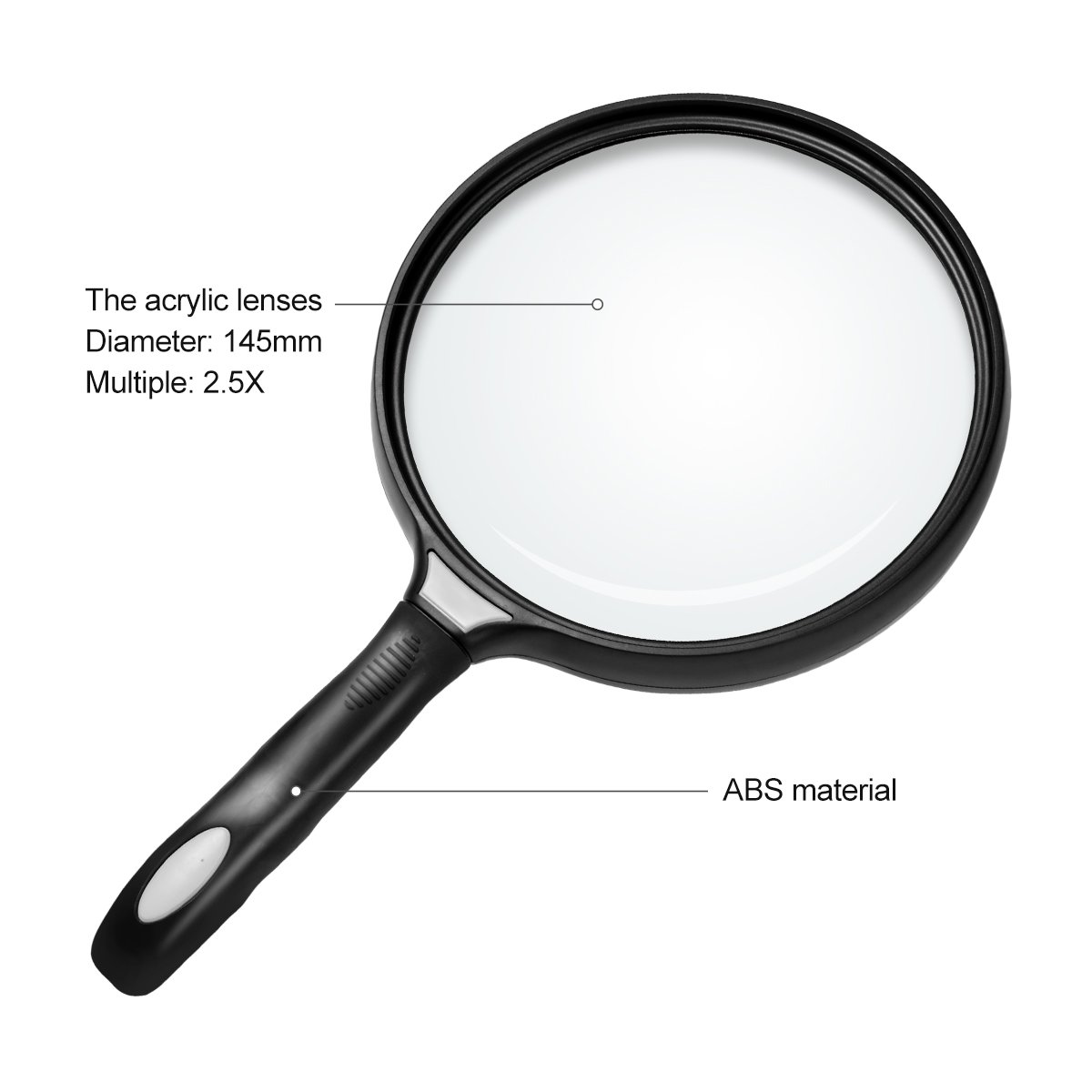 c9ed26062414 Bear Outdoor 5.5 inch Extra Large Handheld Magnifying Glass 2.5X  Illuminated Magnifier Lens - Black