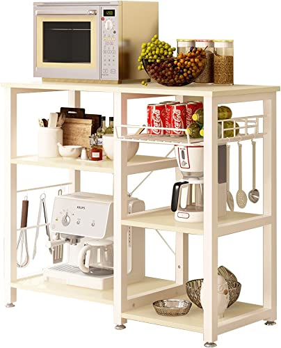 SogesPower 3-Tier Kitchen Baker s Rack Microwave Stand Storage Rack, White Maple