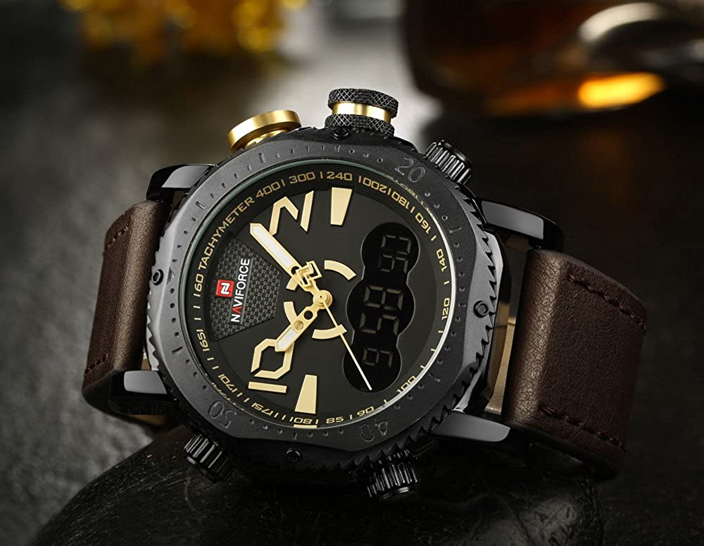 Amazon.com: NAVIFORCE Original Mens Sports Casual Waterproof Leather LED multi-function Wrist Watch 9094 (Brown black yellow): Watches