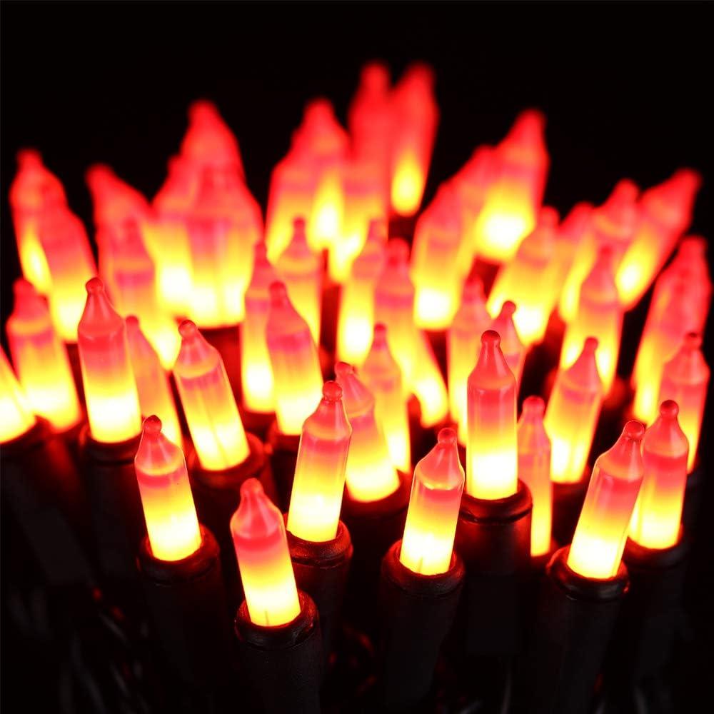 ⭐️Halloween String Lights - HAYATA 24ft 100 Incandescent Orange Mini Bulbs Lights, Halloween Lighting Decor for Outdoor and Indoor Use, Fairy Garden, Yard, Home, Party, Holiday, Halloween Decorations