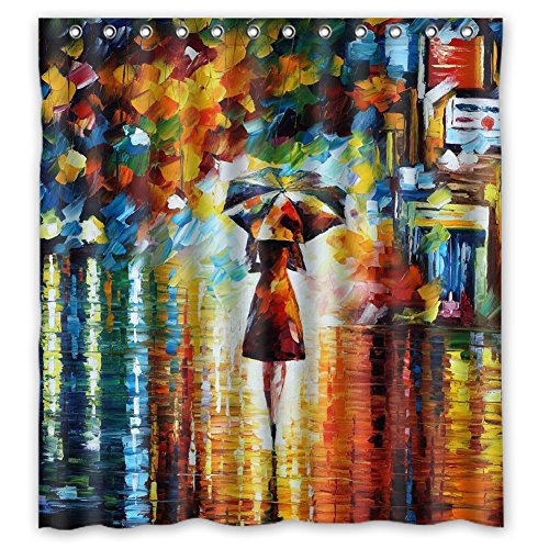 JIUDUIDDODO Coustom Colorful Oil Painting Durable Antibacterial Waterproof Polyester Fabric Soft Shower Curtain Size 66