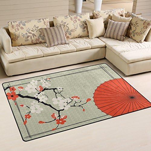 WOZO Vintage Japanese Umbrella Cherry Blossom Area Rug Rugs Non-Slip Floor Mat Doormats for Living Room Bedroom 60 x 39 inches