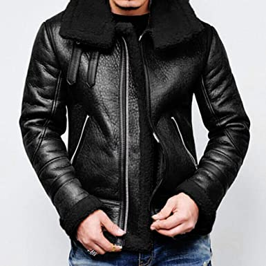 TOPUNDER Autumn Winter Highneck Warm Fur Liner Lapel Leather Zipper Outwear Top Coat Men at Amazon Mens Clothing store: