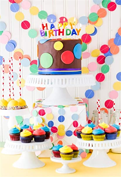 AOFOTO 3x5ft Happy Birthday Background Baby Room Cupcakes Decorations Girl Boy One Two Three