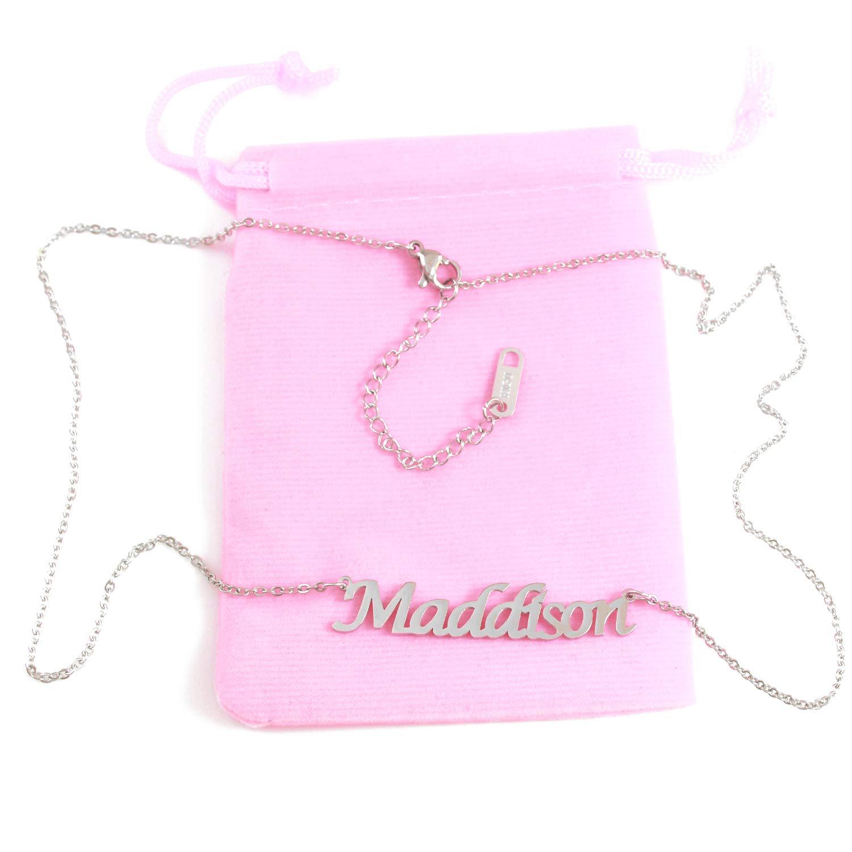 Zacria Maddison Custom Name Necklace Personalized Silver Tone