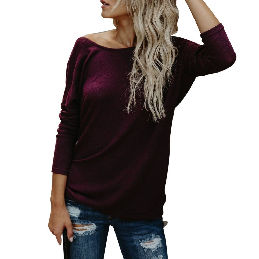 Blouses For Womens,HOT SALE!!Farjing Sexy Fashion Womens Casual Solid Backless O-Neck T-Shirt Blouse Tops(S,Red)