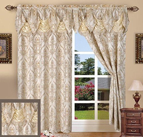 Set of 2 Penelopie Jacquard Look Curtain Panels with Attached Austrian Valance (Beige)