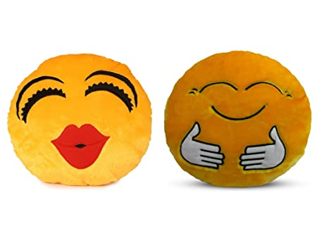 Deals India Kiss Smiley and Hugging smiley Cushion - 35 cm(smiley3&E)Set of 2