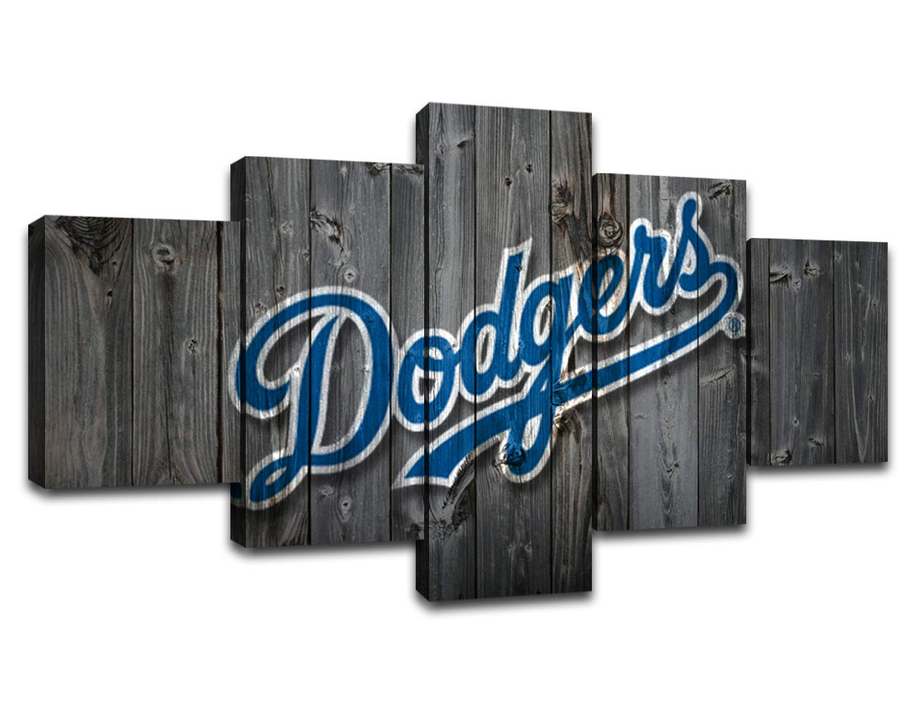 MIAUEN Los Angeles Dodgers Wall Art Canvas Prints MLB Baseball Team Posters with Frame Pictuers Painting Wall Decor Decoration Ready to Hang(60''Wx32''H)