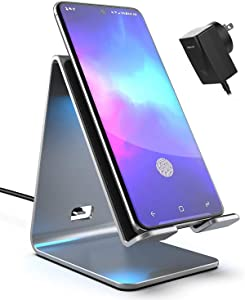 Galaxy S20/S21 Ultra/Note 10/20 Plus Wireless Charger with Wall Plug, Aluminum Qi Power Stand (QC3.0) Adaptive Fast Charging Station and AC Adapter for Samsung S9, S10, iPhone X, Xr, Xs Max/11 Pro