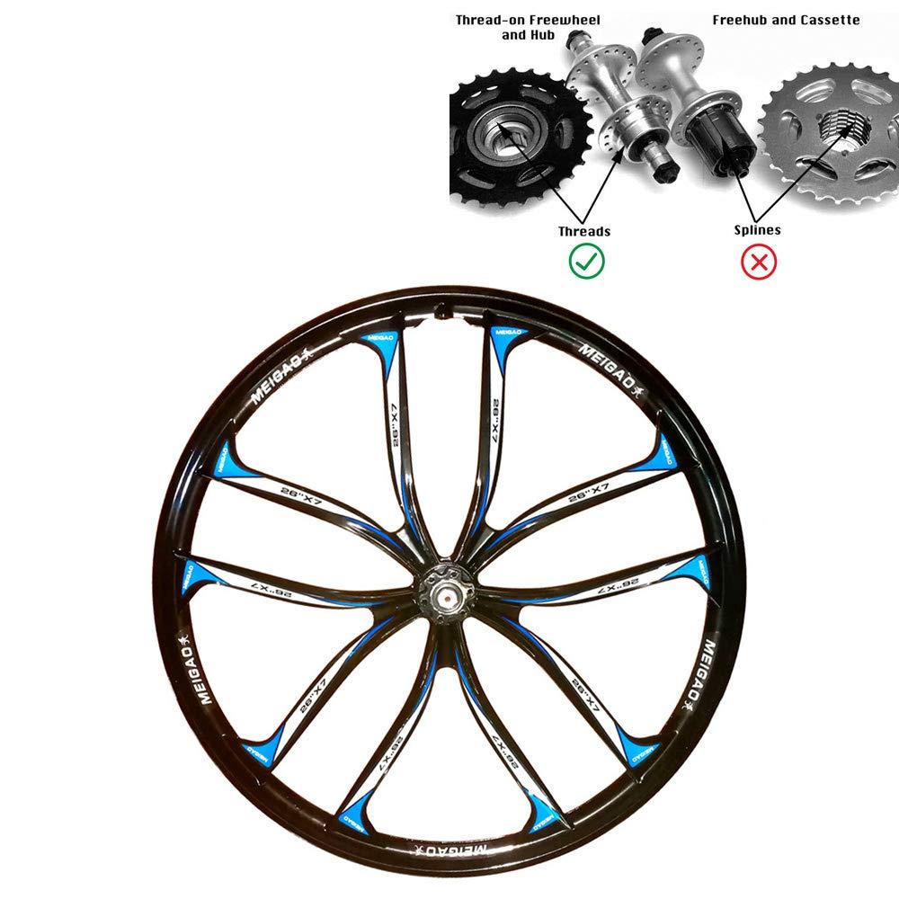 JARONOON 26/27.5 Pulgadas Llantas MTB 10 radios Llantas de aleación de magnesio de Ruedas de Bicicleta de montaña, Ajuste para el Tipo de Rosca Rueda Libre: ...