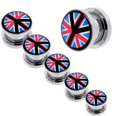 tumundo Set Kit Túnel Dilataciones Acero Inoxidable Pendientes Piercing Expansor Stretcher UK United Kingdom Peace: Amazon.es: Joyería