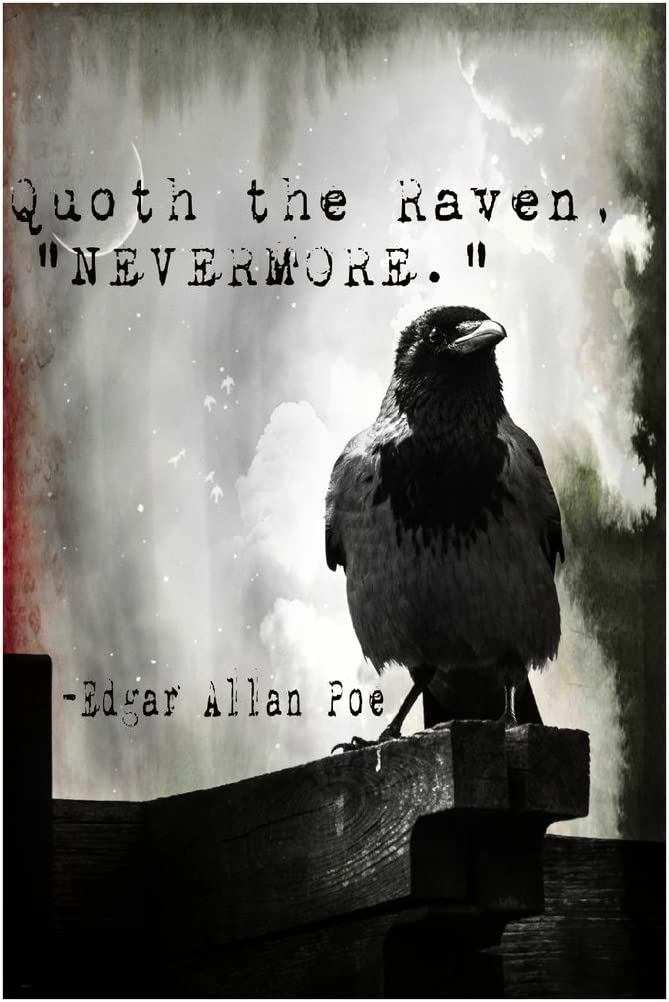 MR.CI -Edgar Allan Poe- Quoth The Raven Nevermore Poster Wall Print|Inspirational Motivational Classroom Home Office Dorm|18 X 12 in|SJC123