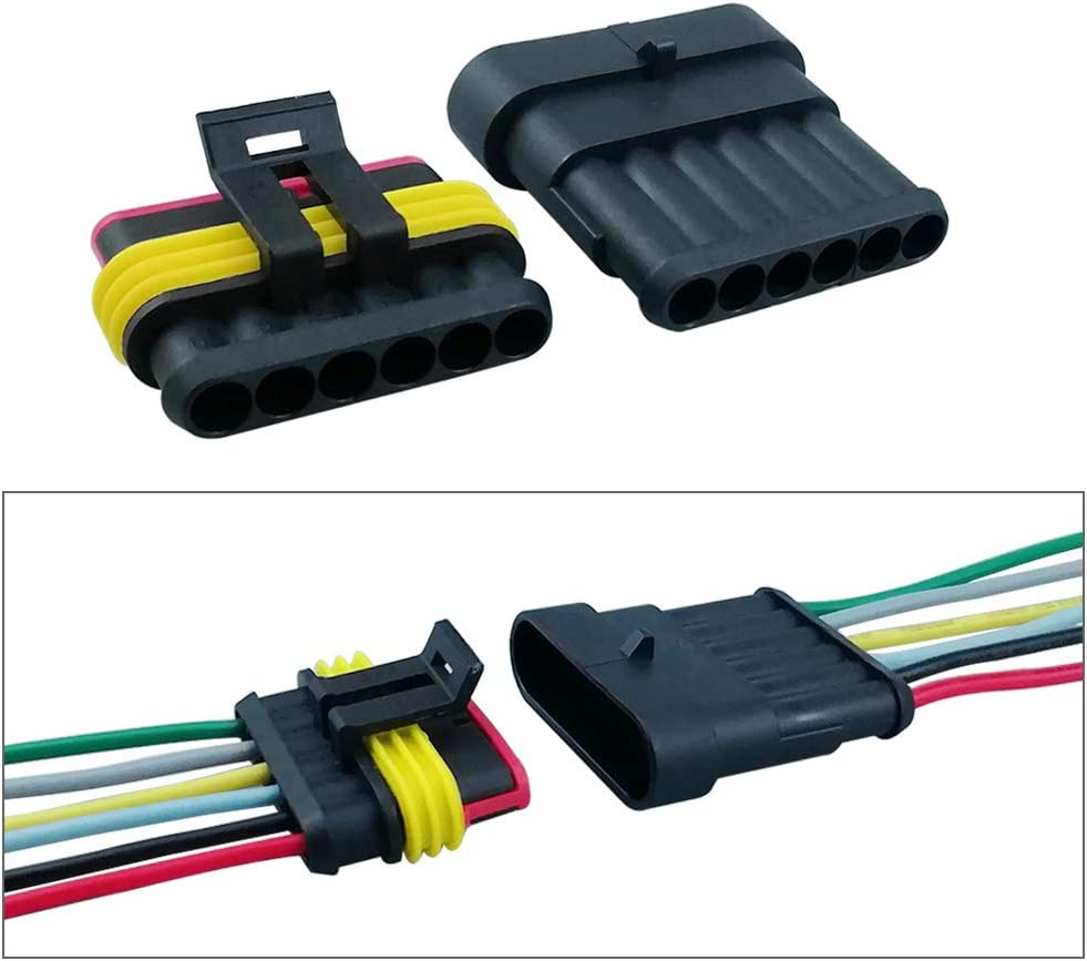 con Cable El/éctrico Coche Impermeable R/ápido Enchufe Terminal para Coche Moto Cami/ón Barcos QitinDasen 4 Kit Profesional 6 Pin Coche Impermeable Cable El/éctrico Conector