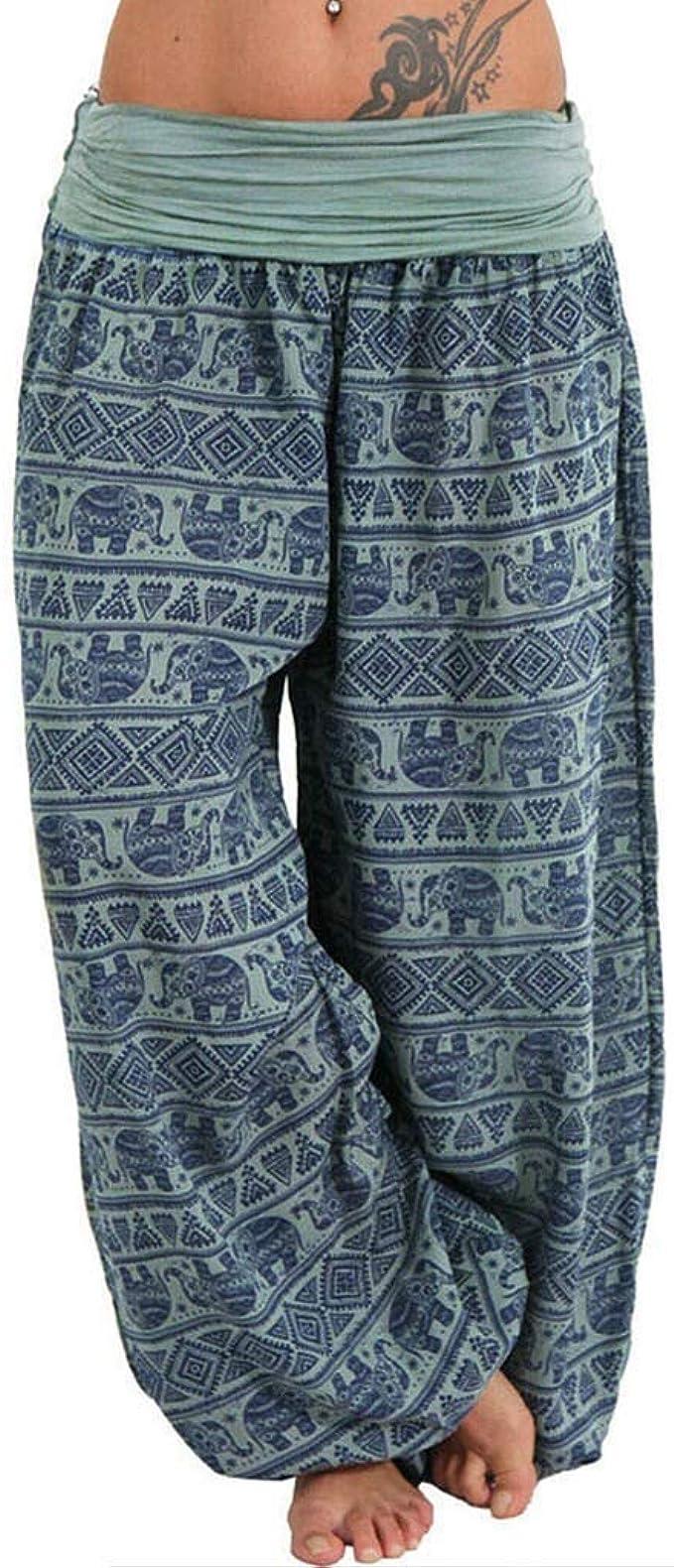 Lulupi Gro/ße Gr/ö/ßen Hosen Damen Pumphose Haremshose Yogahose Sommerhose Aladin Pants Baggy Harem Stil Bein Hippie Hose mit Elastischen Bund