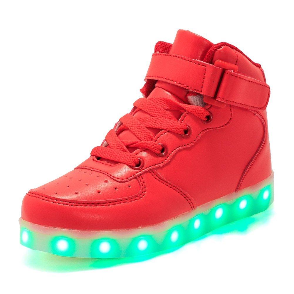 Licy Life-UK Unisex Enfants Garçon Fille LED Lumineuse Chaussures Securité Mode Haut Dessus 7 Couleurs Clignotants USB Rechargeable Mutilsport Shoes Sneaker