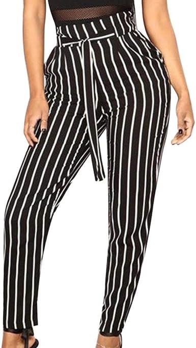 Mujer Elegantes Largos Pantalones Otono Rayas Verticales Con Cremallera Mode De Marca Con Cinturon Slim Fit Plisado Pants Pantalones De Tiempo Libre Pantalones De Cintura Alta Joven Estilo Moderno Amazon Es Ropa Y