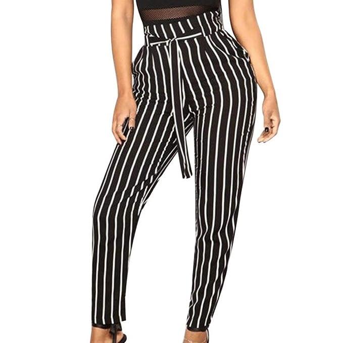 ADELINA Elegantes Moda Mujer Largos Pantalones De Tela Primavera con Cinturón  Rayas Verticales Otoño Bolsillos Delanteros Plisado Slim Fit Regalos ... b160e3b28deb