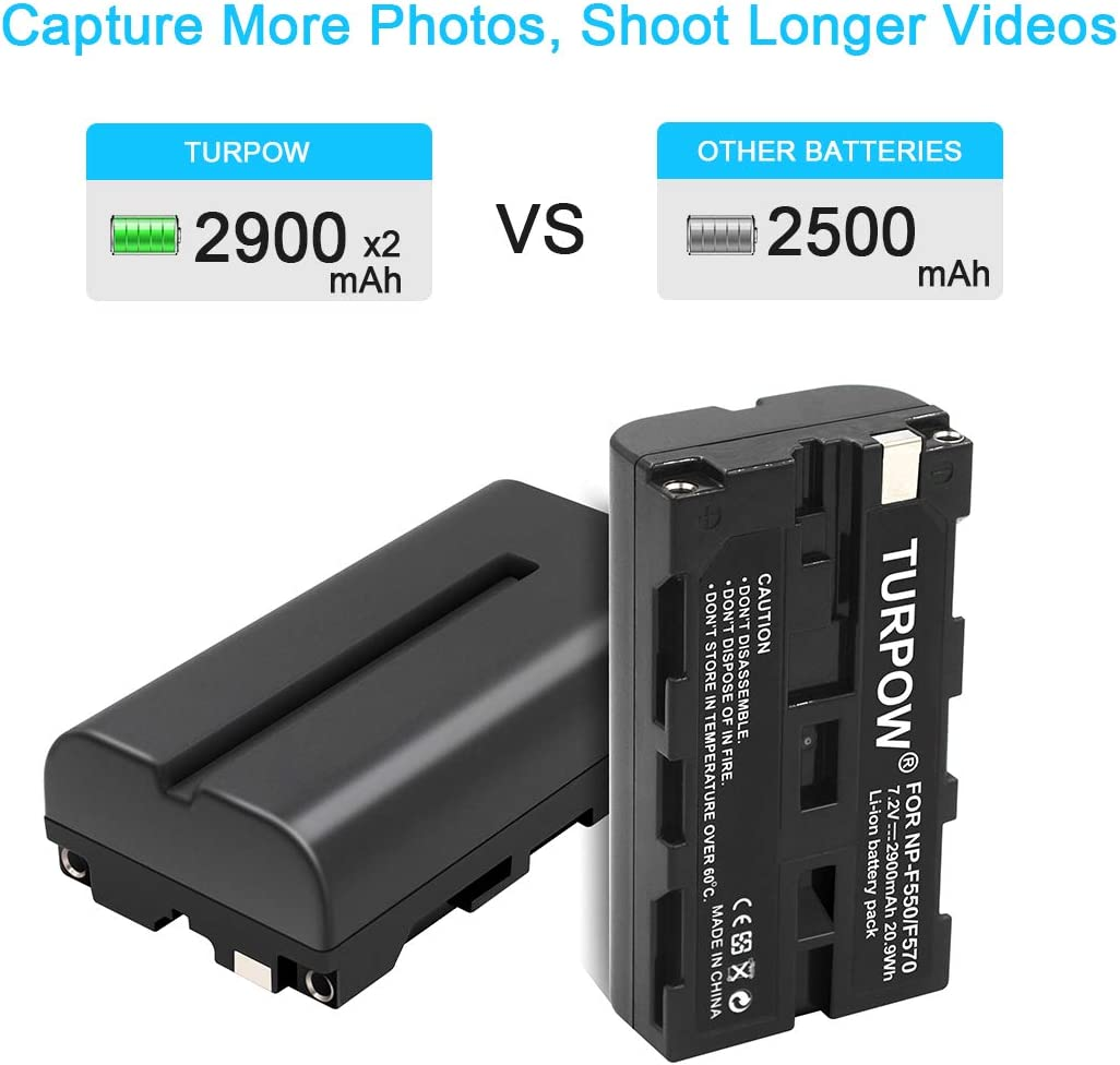 Compatible with Sony NP-F550 Digital Camera Batteries and Chargers 2200mAh 7.2V Lithium-Ion Replacement for Sony CCD-TRV41 Battery and Charger with Car Plug and EU Adapter