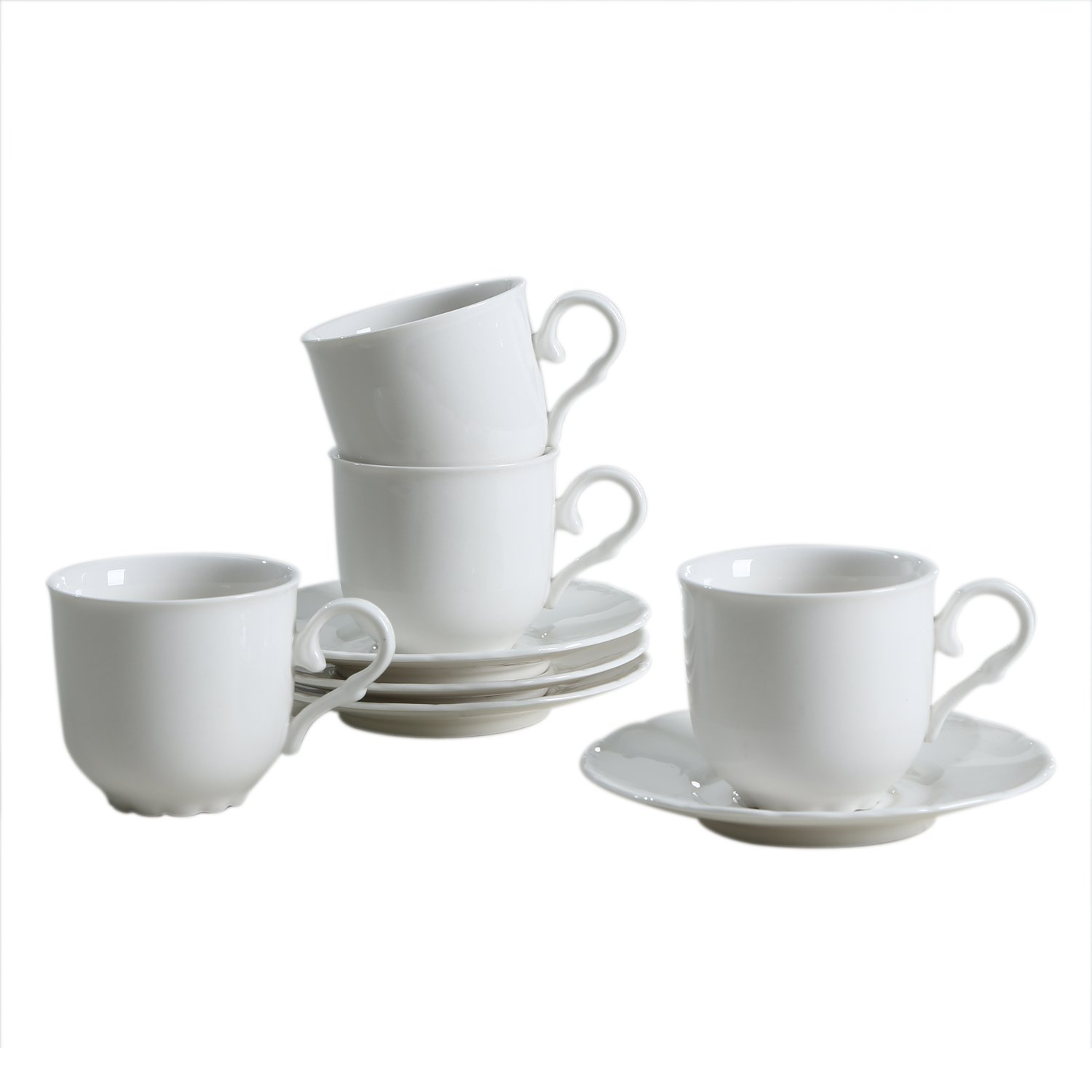 SOLECASA ''7-OZ/Set of 4'' Ceramic Espresso Coffee Cup and Saucer Set,Porcelain Tea Cup Set,Pure White-Great as Holiday Gift/Present