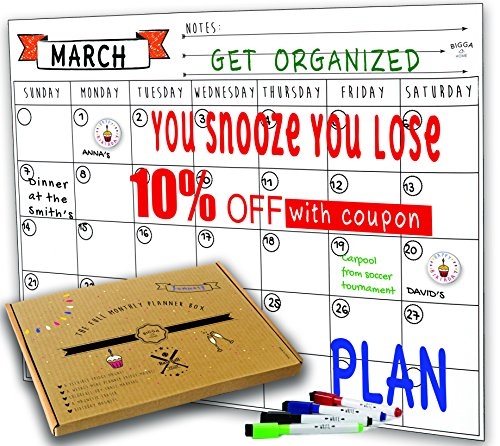 Dry Erase Monthly Magnetic Calendar Planner Set, White Board W/extra Meal Planner, For Kitchen Refrigerator, Flexible, a Highly Designed Stiff Box for Home or Office. White, 16''x12''. By (Planner Magnetic Grid)