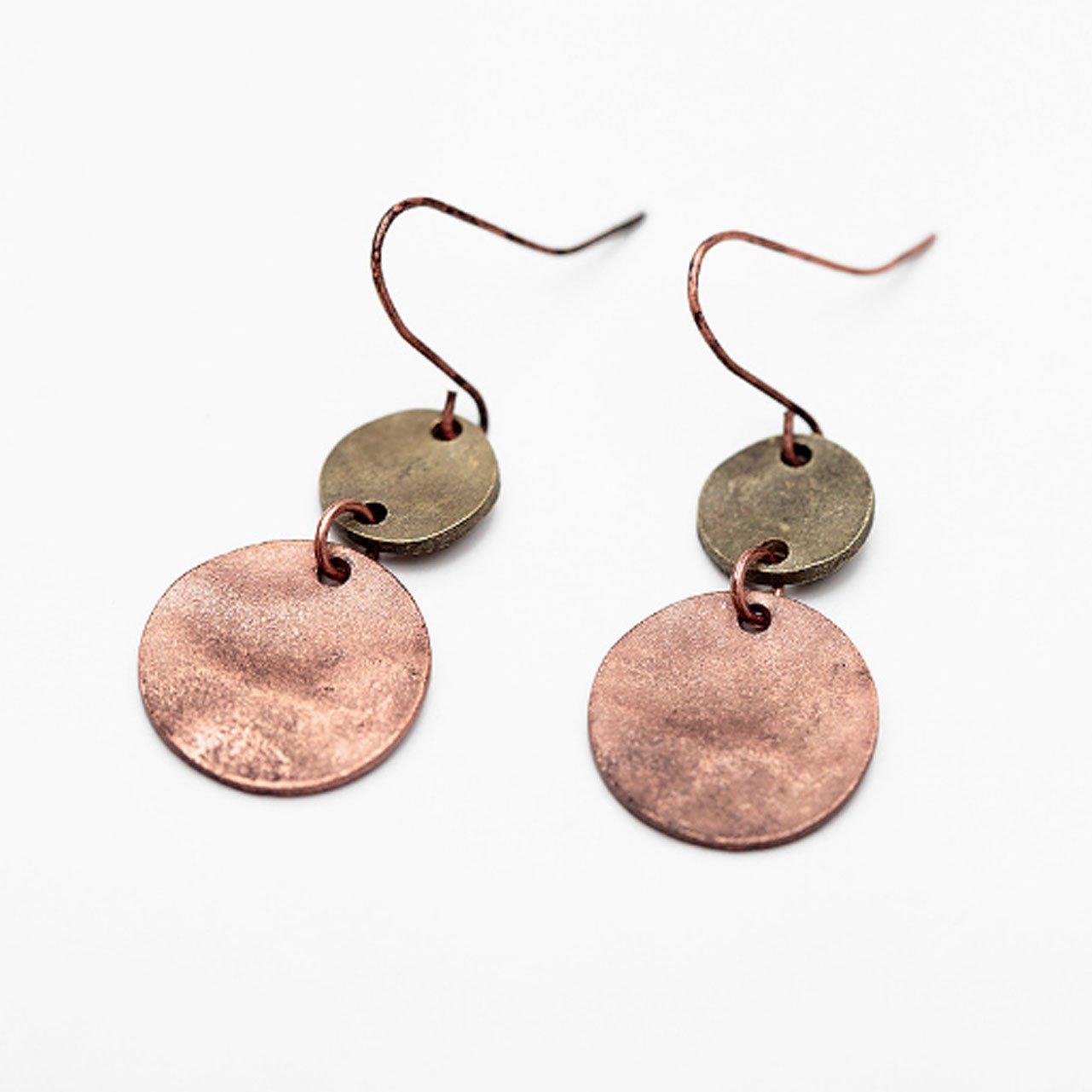 Women Drop Earrings Double Circular Pendant Earring Zinc Alloy Earrings Vintage Jewelry