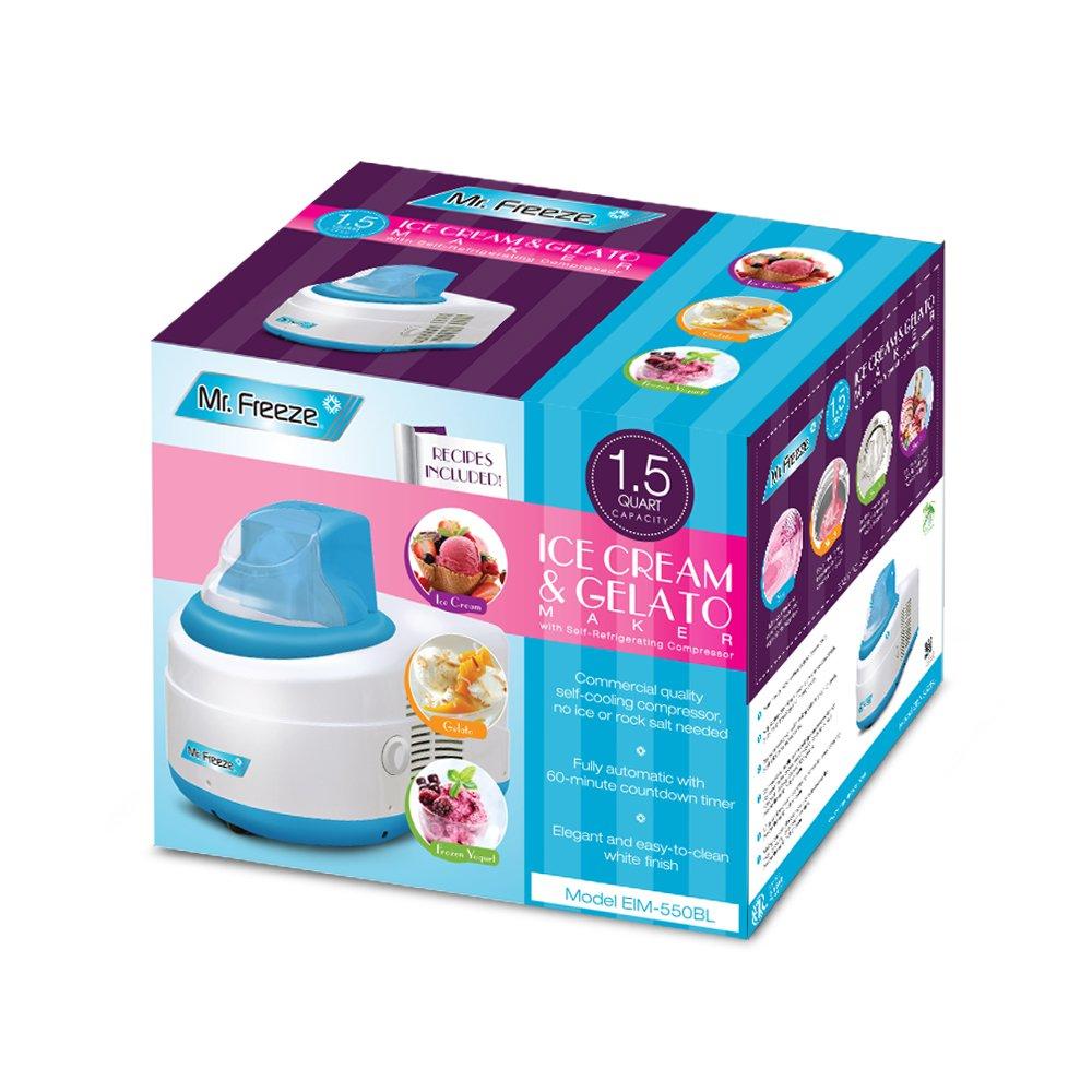 Mr. Freeze EIM-550BL Maxi-Matic 1.5 Quart Ice Cream Maker with Compressor, Blue