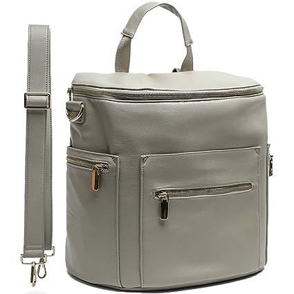 Miss Fong- Bolso de viaje para pañales de piel con cambiador, bolsillo isotérmico y gancho para el cochecito gris